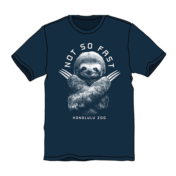 ADULT SHORT SLEEVE TEE NOT SO FAST SLOTH-MIDNIGHT BLUE
