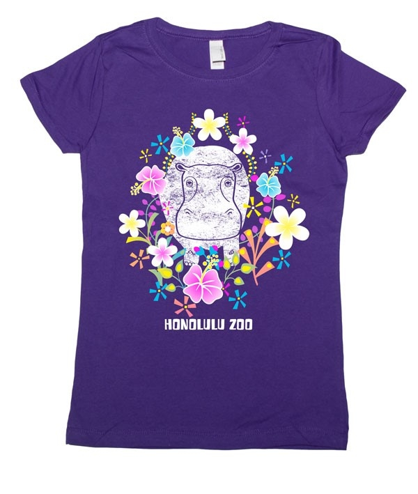 YOUTH GIRLS SHORT SLEEVE TEE FLOWER HIPPO-PURPLE RUSH