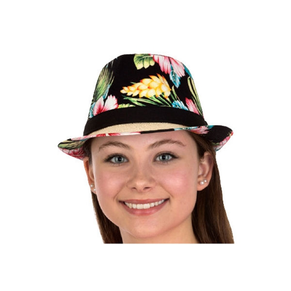 ADULT FEDORA STRAW HAT-FLORAL