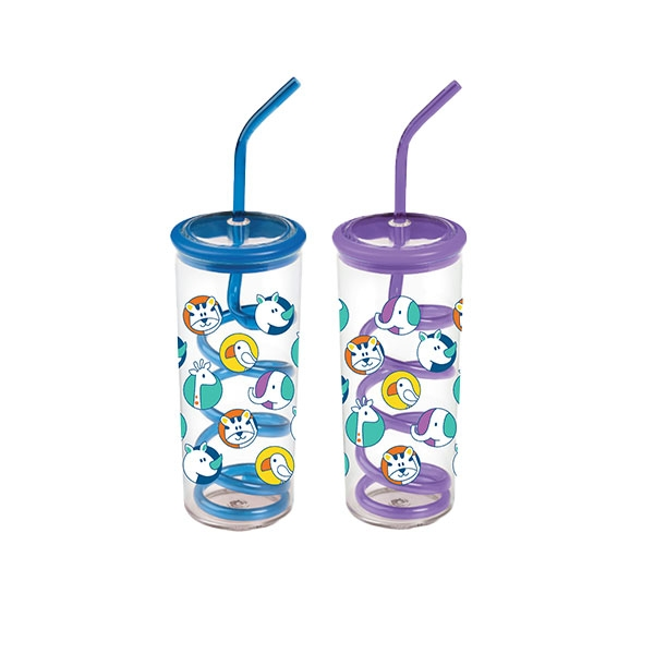 TWISTY STRAW CUP STACKING ANIMALS PRINT
