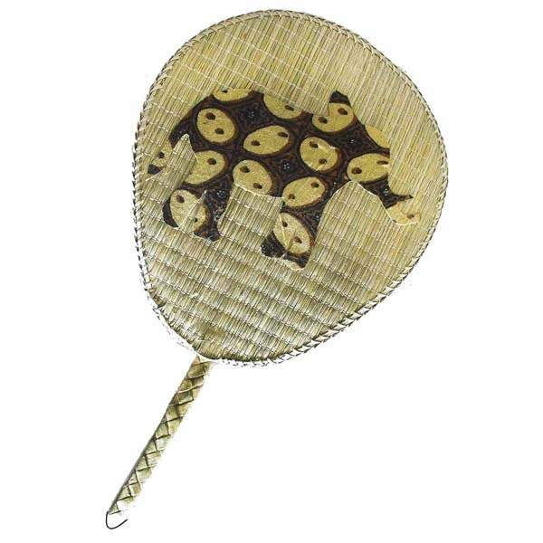 PALM LEAF ELEPHANT PRINT HAND FAN