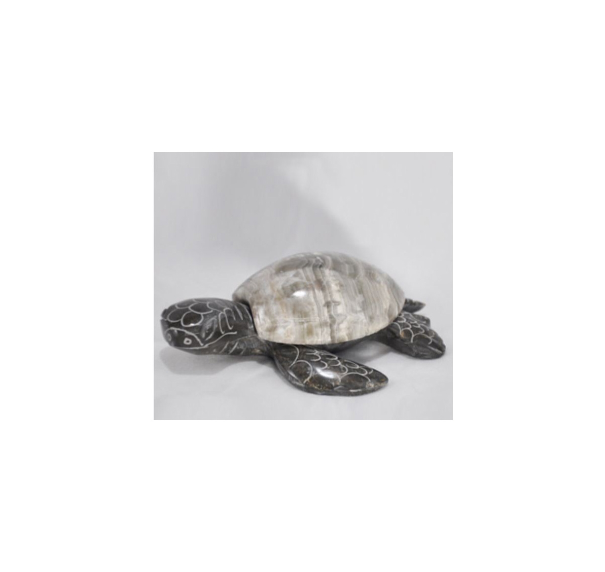 """4"""" HAND CARVED MARBLE STONE  SEA TURTLE"""