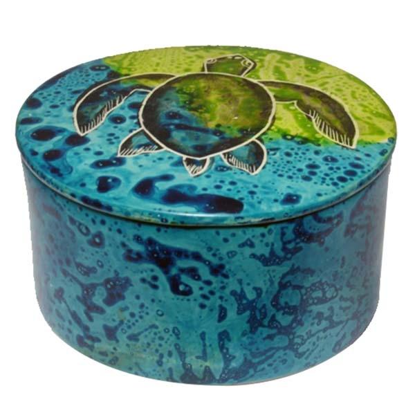 "SOAP STONE  ROUND BOX WITH COVER  3"" MAJI TURTLE"