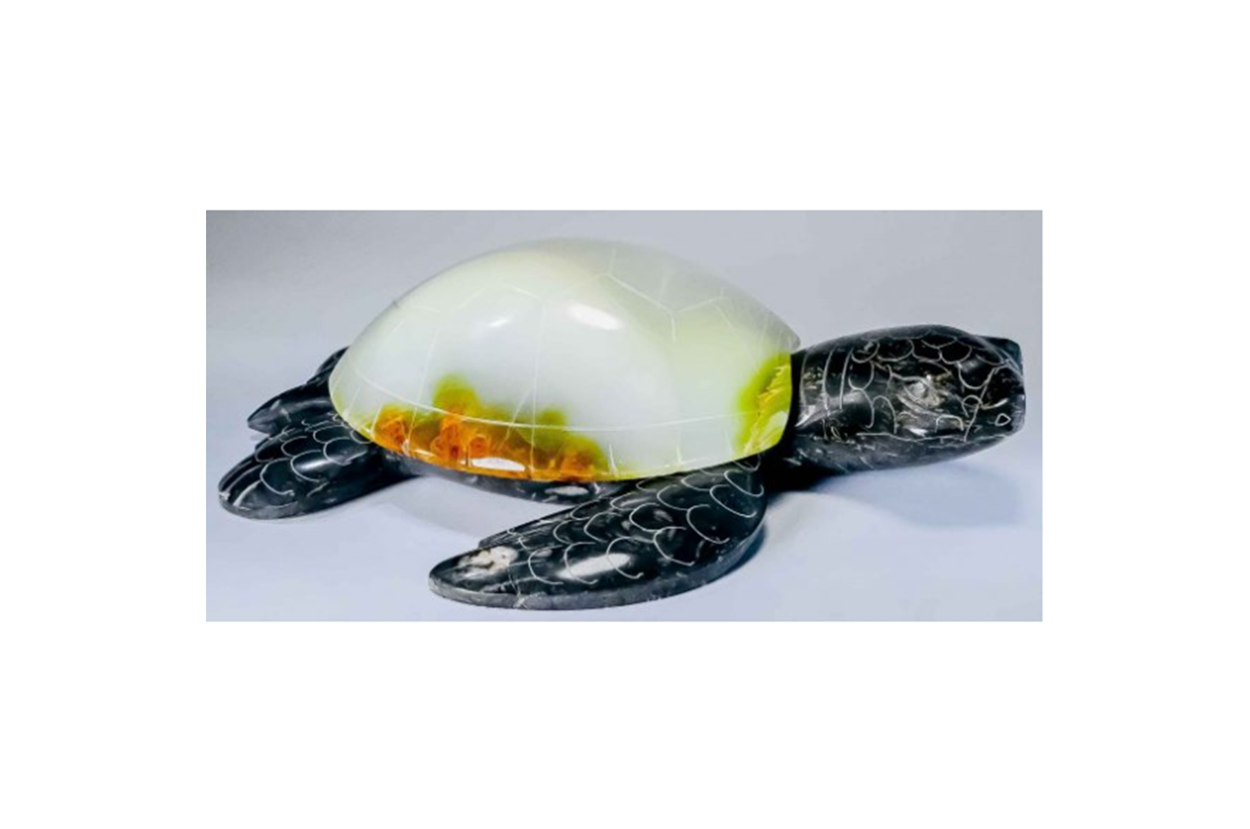 """9"""" HAND CARVED MARBLE STONE SEA TURTLE"""