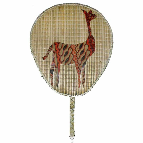 PALM LEAF GIRAFFE PRINT HAND FAN