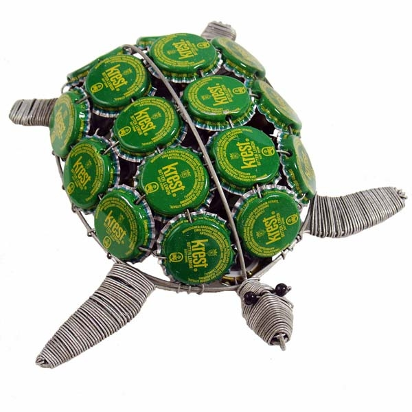 "6"" SEA TURTLE BOTTLECAP RE-PURPOSED FIGURINE"