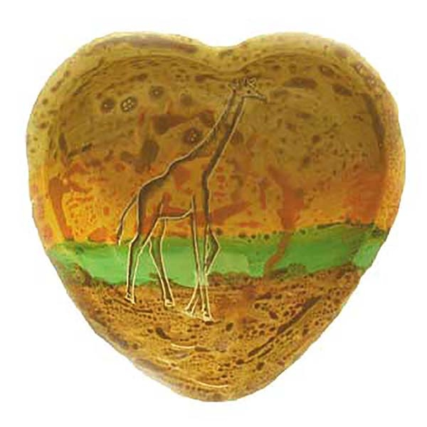 "SOAP STONE BOWL HEART SHAPE 3"" NYAMA GIRAFFE"