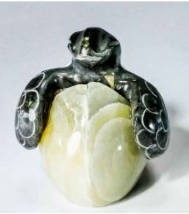 """1"""" HAND CARVED MARBLE STONE  SEA TURTLE HATCHLING FIGURINE"""