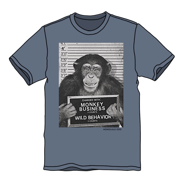 YOUTH SHORT SLEEVE TEE BUSTED CHIMP-STEELE BLUE