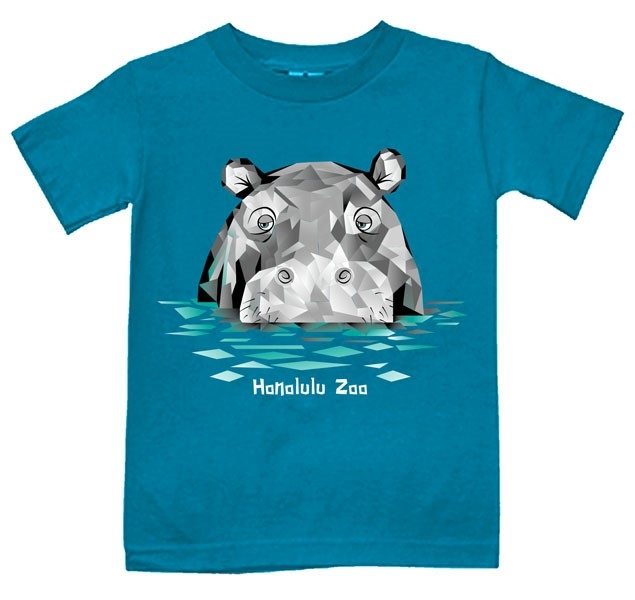 YOUTH SHORT SLEEVE TEE POLYGON HIPPO-TURQUOISE