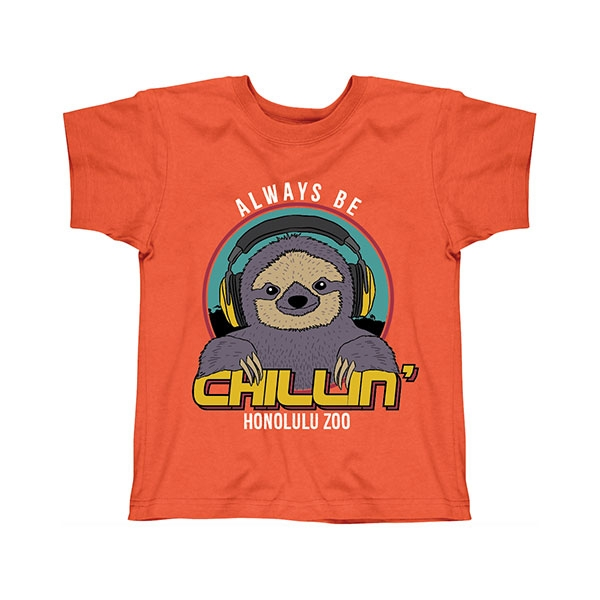 YOUTH SHORT SLEEVE TEE CHILLIN SLOTH-ORANGE