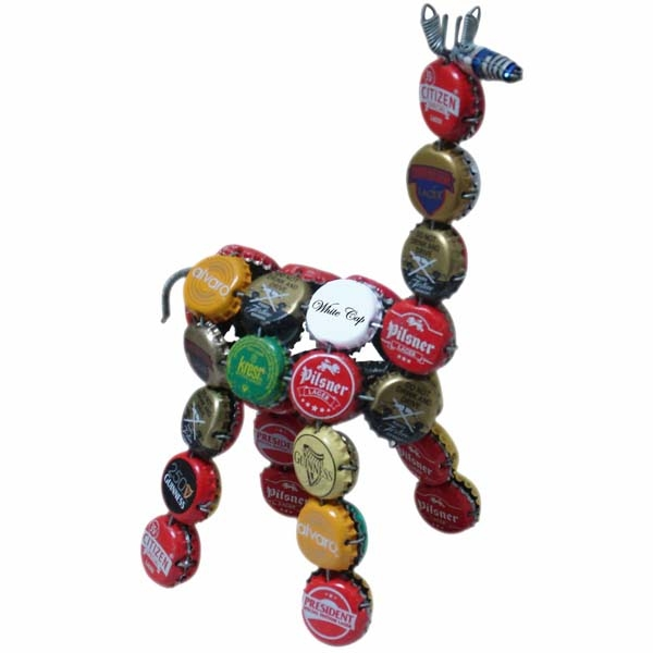 "6"" GIRAFFE BOTTLECAP RE-PURPOSED FIGURINE"