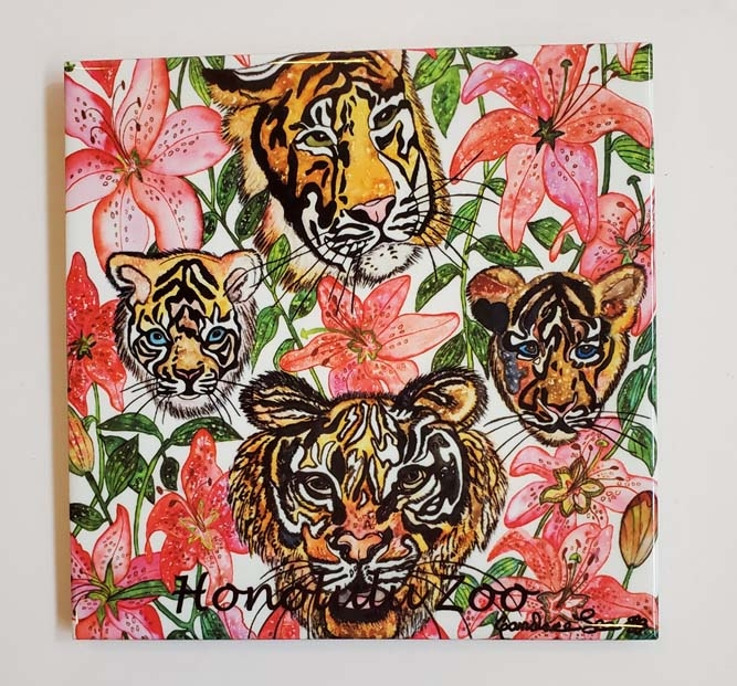 """6"""" TIGER LILY DECORATIVE TILE  MADE IN HAWAII"""