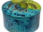 "SOAP STONE  ROUND BOX WITH COVER  3"" MAJI TURTLE"